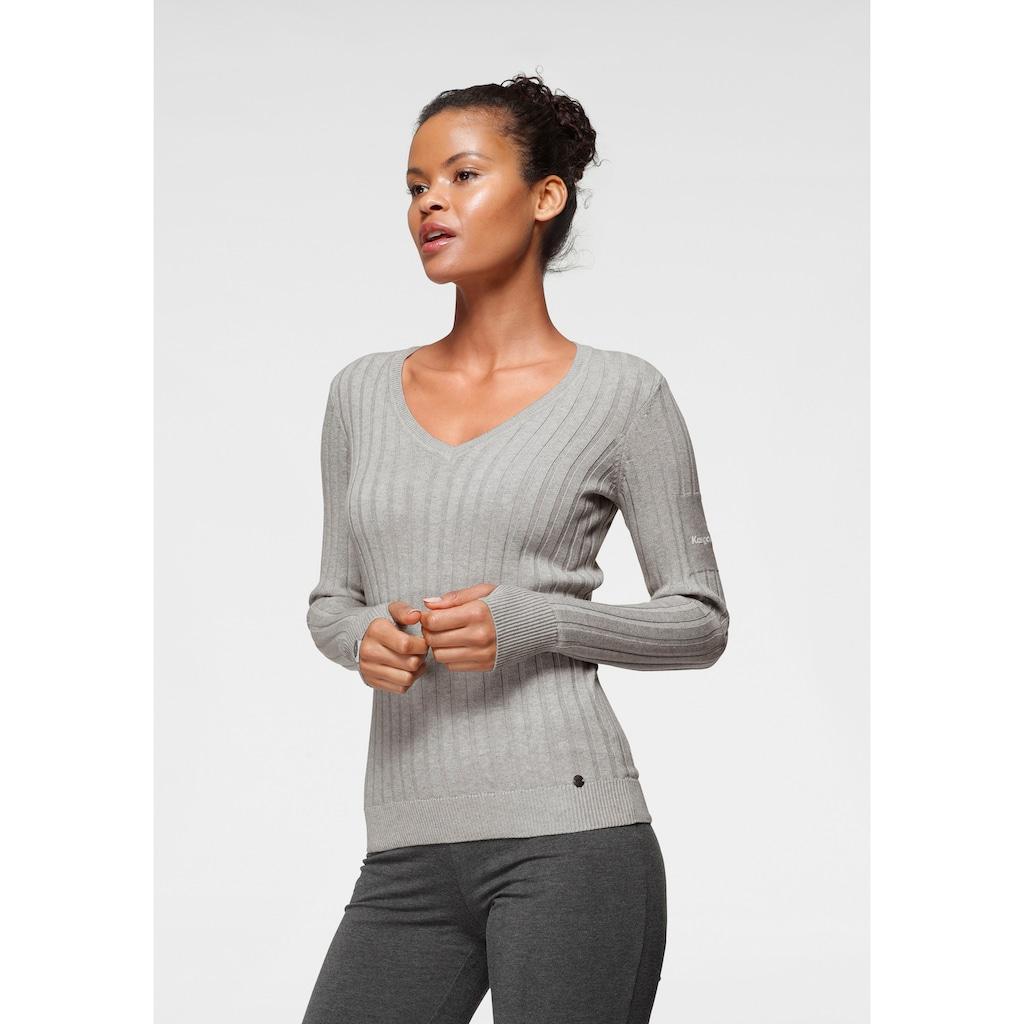 KangaROOS V-Ausschnitt-Pullover, in breit geripptem Feinstrick