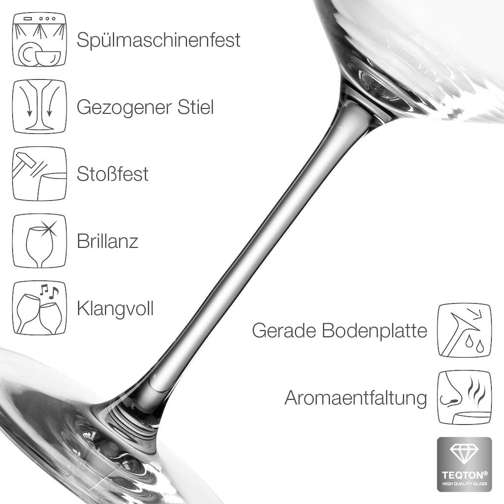 LEONARDO Gläser-Set »Puccini«, (Set, 12 tlg., 4 Sektgläser, 4 Rotweingläser, 4 Weißweingläser), Teqton-Qualität, 12-teilig