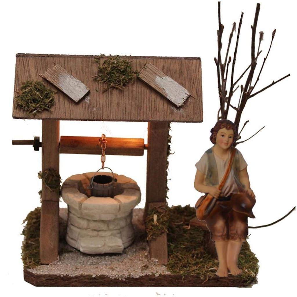 Alfred Kolbe Krippen-Zubehör »Brunnen mit Beleuchtung und Figur Hirte sitzend«