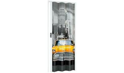 Falttür »NY-Skyline«, BxH: 88,5x202 cm, Weiß mit Motivdruck kaufen