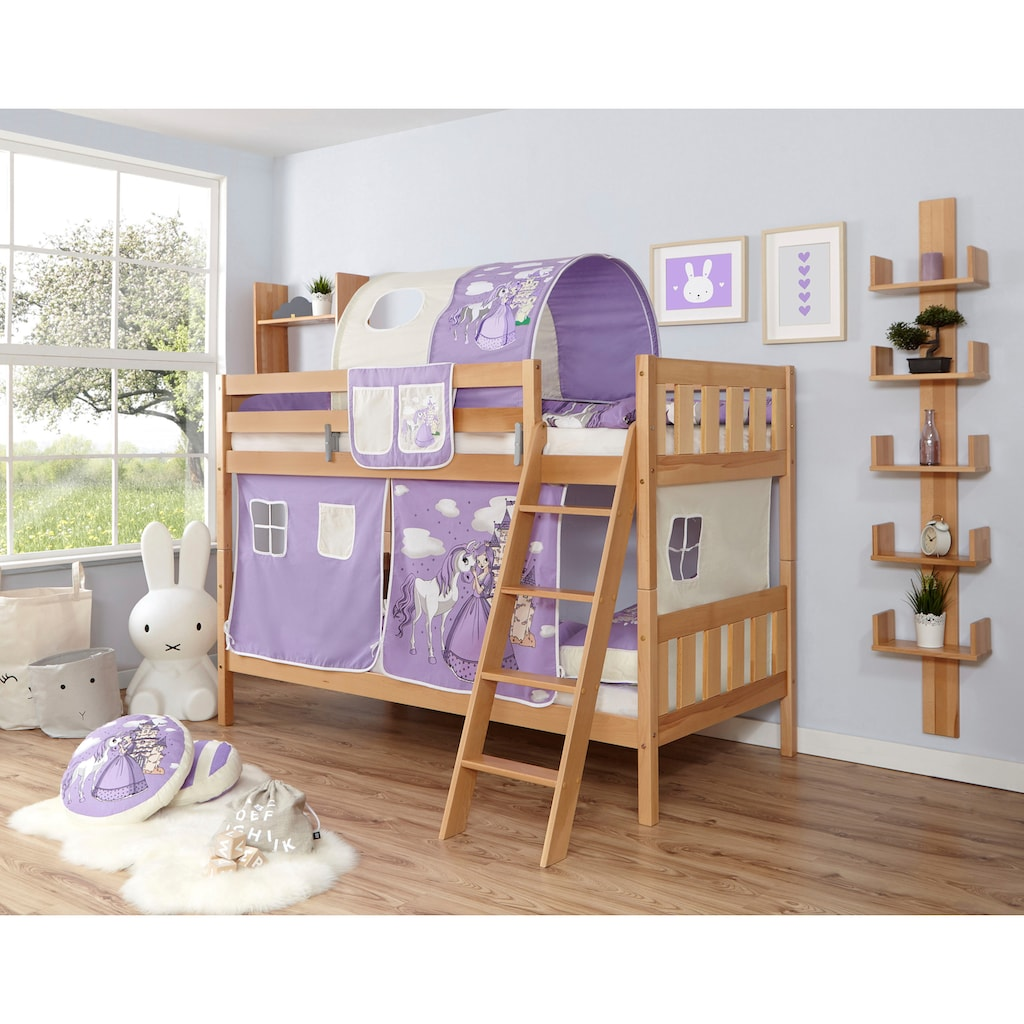 Ticaa Etagenbett »Erni«, mit Rollrost und Textil-Set wahlweise mit Matratze, Buche
