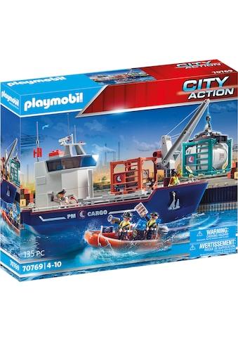Playmobil® Konstruktions-Spielset »Großes Containerschiff mit Zollboot (70769), City... kaufen