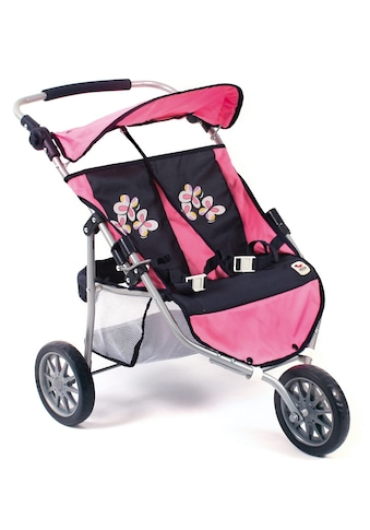"CHIC2000 Puppen - Zwillingsbuggy ""Jogger, pink checker"" kaufen"