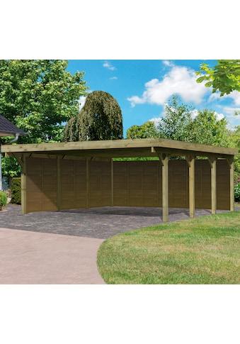 Karibu Doppelcarport »Classic 2«, Holz, 540 cm, braun, mit Rückwand und 3 Seitenwänden kaufen