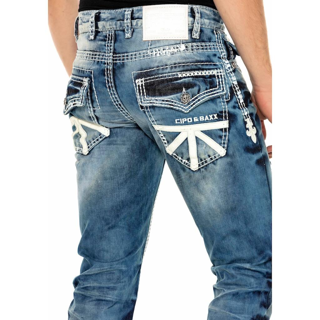 Cipo & Baxx Straight-Jeans, aufwendige Details