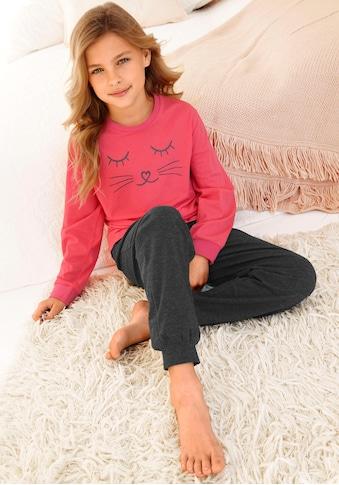 Arizona Pyjama, in langer Form mit Cat Print kaufen