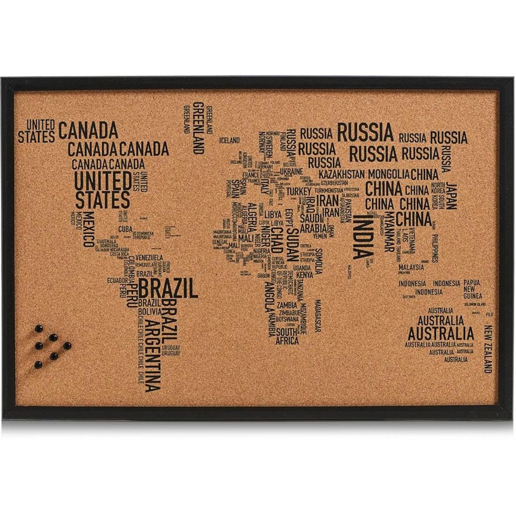 Zeller Present Pinnwand »World Letters«, rechteckig, aus Kork, Motiv Weltkarte
