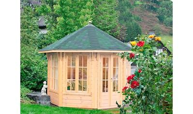 WOLFF FINNHAUS Holzpavillon »Milano 3.0«, BxT: 360x360 cm, mit grün - schwarzen Schindeln kaufen