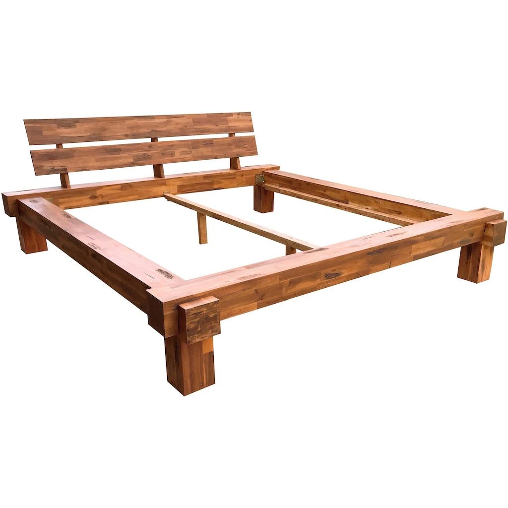 SalesFever Massivholzbett »Eik«, mit Wuchrissen, Astlöchern und charakteristischer Maserung