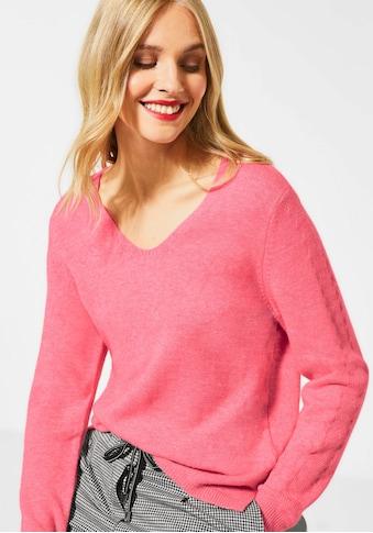 STREET ONE V-Ausschnitt-Pullover »Cosy V-Neck«, mit dezentem Zierstrick im Rücken und an den Ärmeln kaufen
