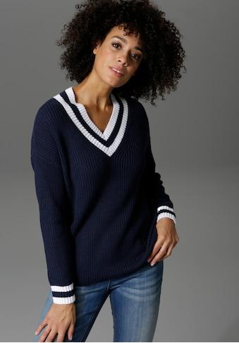 Aniston CASUAL V-Ausschnitt-Pullover, mit gestreiften Bündchen kaufen