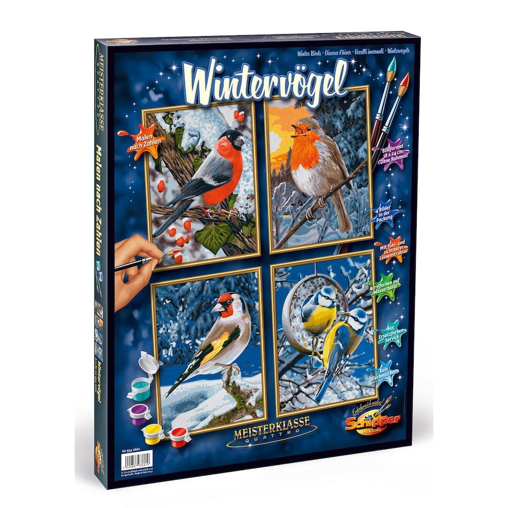 Schipper Malen nach Zahlen »Meisterklasse Quattro - Wintervögel«, Made in Germany