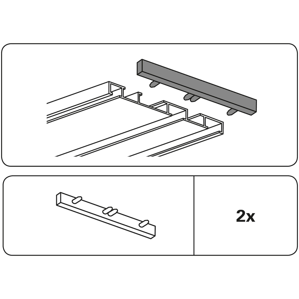 GARDINIA Gardinenstangen-Endstück »Endstück 3-läufig«, Kunststoff, Serie Aluminium-Vorhangschiene