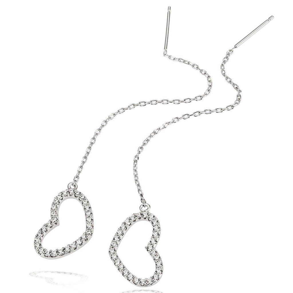 goldmaid Paar Ohrhänger, 925/- Silber Herz mit weißen Zirkonia