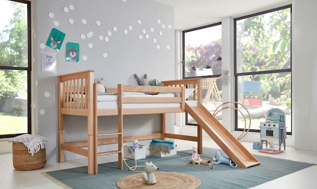 Hochbett mit Rutsche aus Holz
