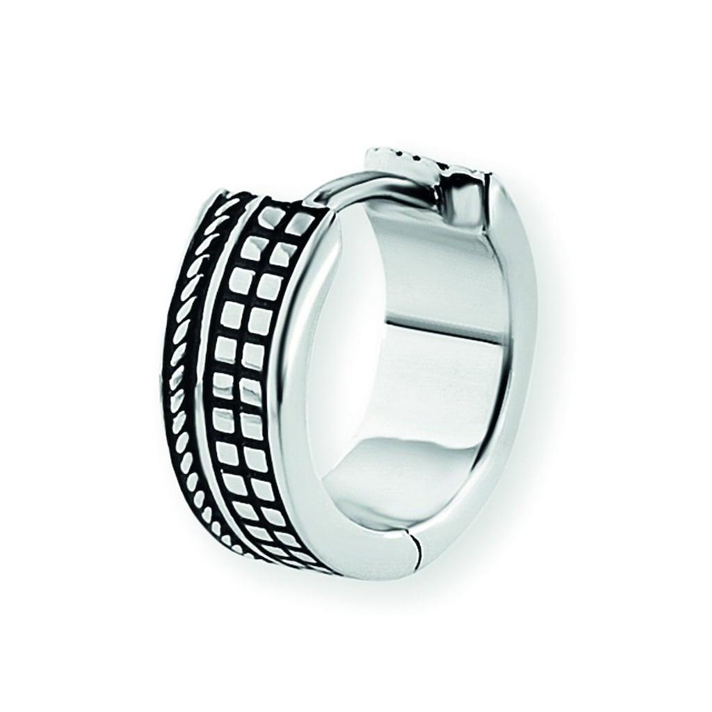 CAÏ Paar Creolen »925/-Sterling Silber rhodinert«, fein ausgearbeitete Quadrat- und Seilstruktur