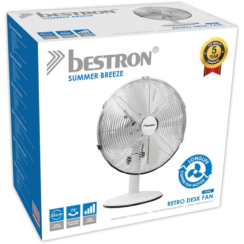 bestron Tischventilator »Summer Breeze«, 35 cm Durchmesser, mit Schwenkfunktion im Retro-Design, Höhe: 43 cm, Ø 35 cm, 35 Watt, Schwarz