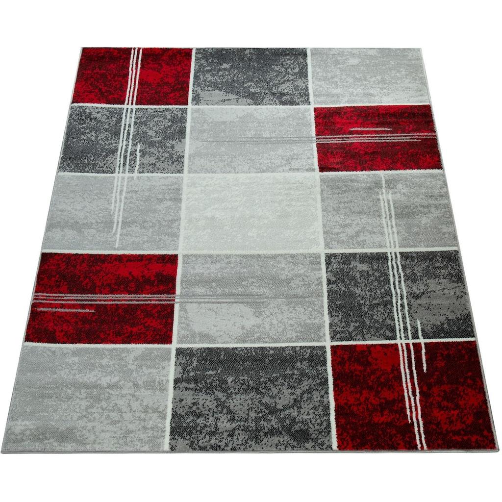 Paco Home Teppich »Sinai 057«, rechteckig, 9 mm Höhe, karierter Kurzflor mit Marmor Optik, Wohnzimmer