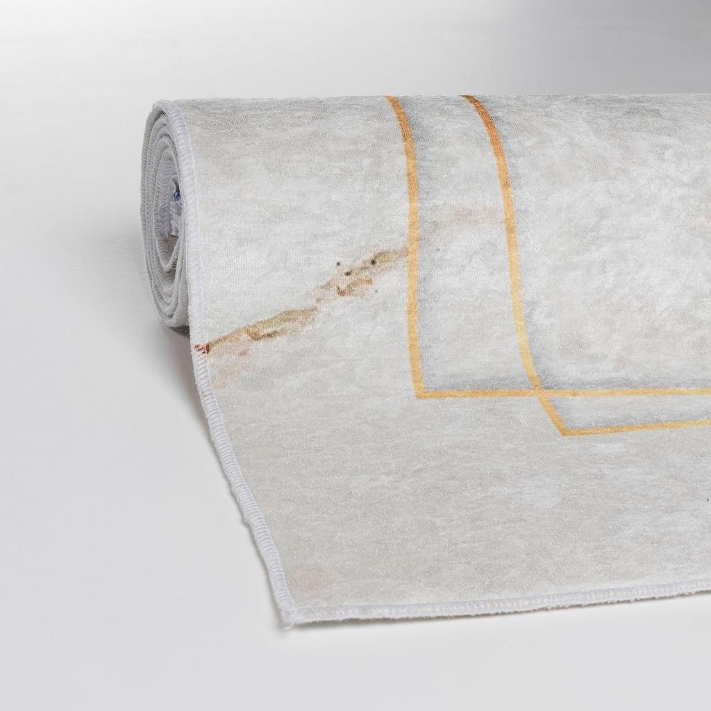 Sehrazat Teppich »Caimas 2991«, rechteckig, 5 mm Höhe, waschbar, weiche Microfaser, Wohnzimmer