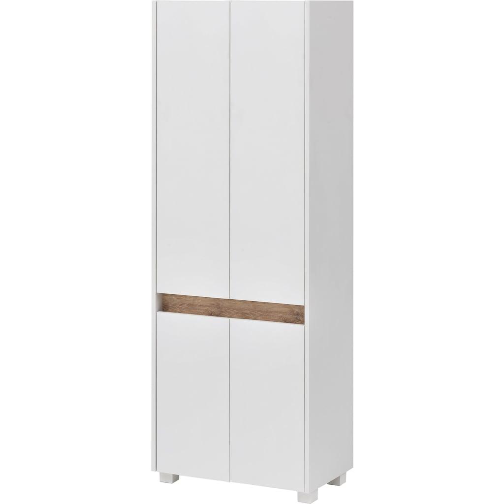 Schildmeyer Hochschrank »Cosmo«, Breite 57 cm, Badezimmerschrank mit griffloser Optik, Blende im modernen Wildeiche-Look, praktischer Stauraum durch mehrere Einlegeböden