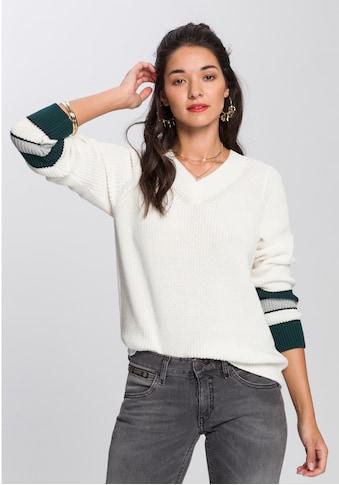 AJC V-Ausschnitt-Pullover, mit kontrastfarbenen Streifen am Ärmelende kaufen