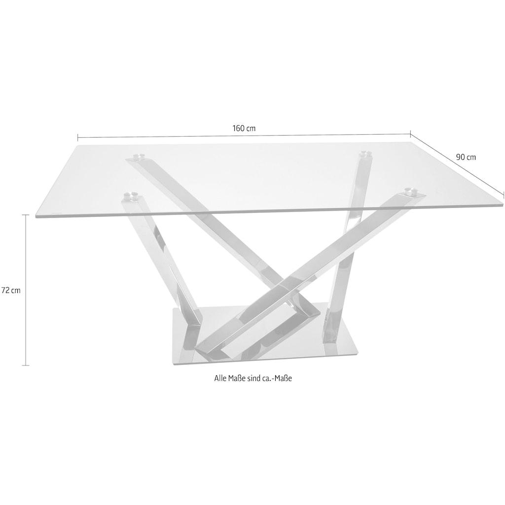 Leonique Esstisch »Micado«, mit Glasplatte und raffiniertem Chromgestell, in Handarbeit gefertigt
