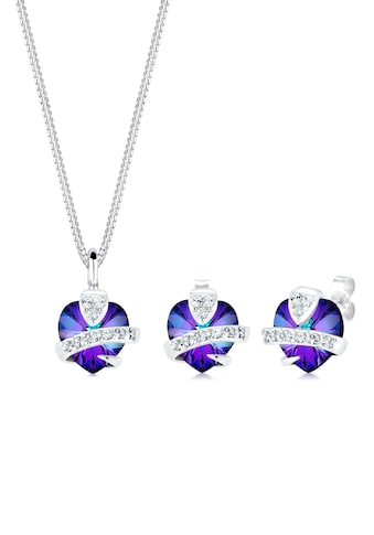 Elli Schmuckset »Herz Glamourös Kristalle 925 Silber« kaufen