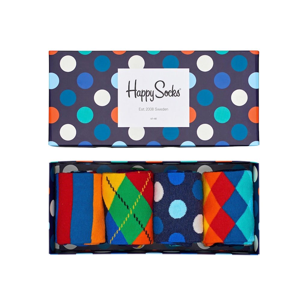 Happy Socks Socken, (Box, 4 Paar), mit verschiedenen Mustern in der Box