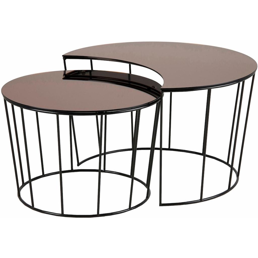 andas Couchtisch »Susan«, mit Tischplatte aus bronzefarbigem Spiegelglas und Metall Gestell