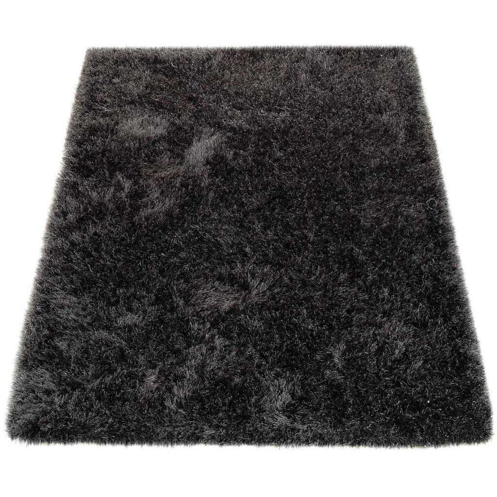 Paco Home Hochflor-Teppich »Glamour 300«, rechteckig, 70 mm Höhe, Shaggy mit weichem Glanz Garn, Uni Farben, Wohnzimmer