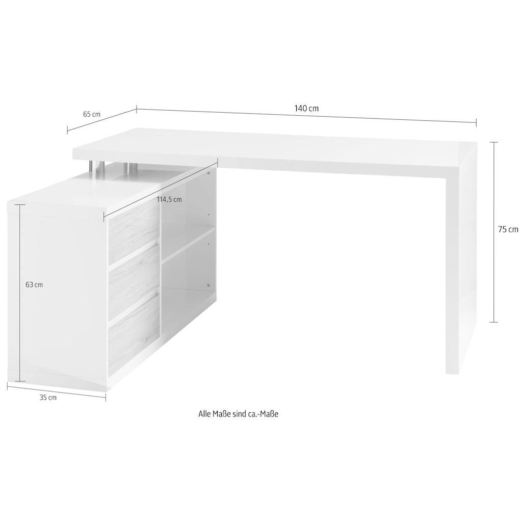 HMW Collection Eckschreibtisch »Split«, Winkelschreibtisch seitenverkehrt montierbar