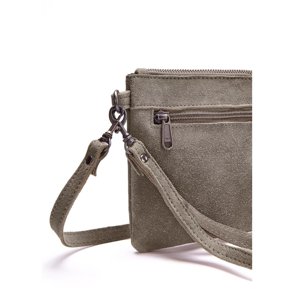 LASCANA Umhängetasche, Clutch aus Leder mit modischen Tasseln