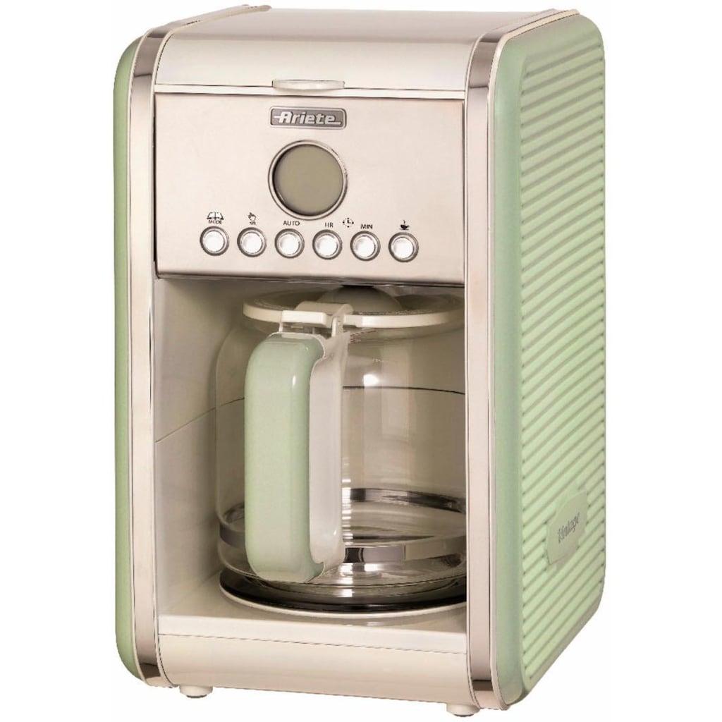Ariete Filterkaffeemaschine »Vintage grün 1342«, Permanentfilter, Startzeit Kaffeezubereitung programmierbar und Unterbrechung der Zubereitung