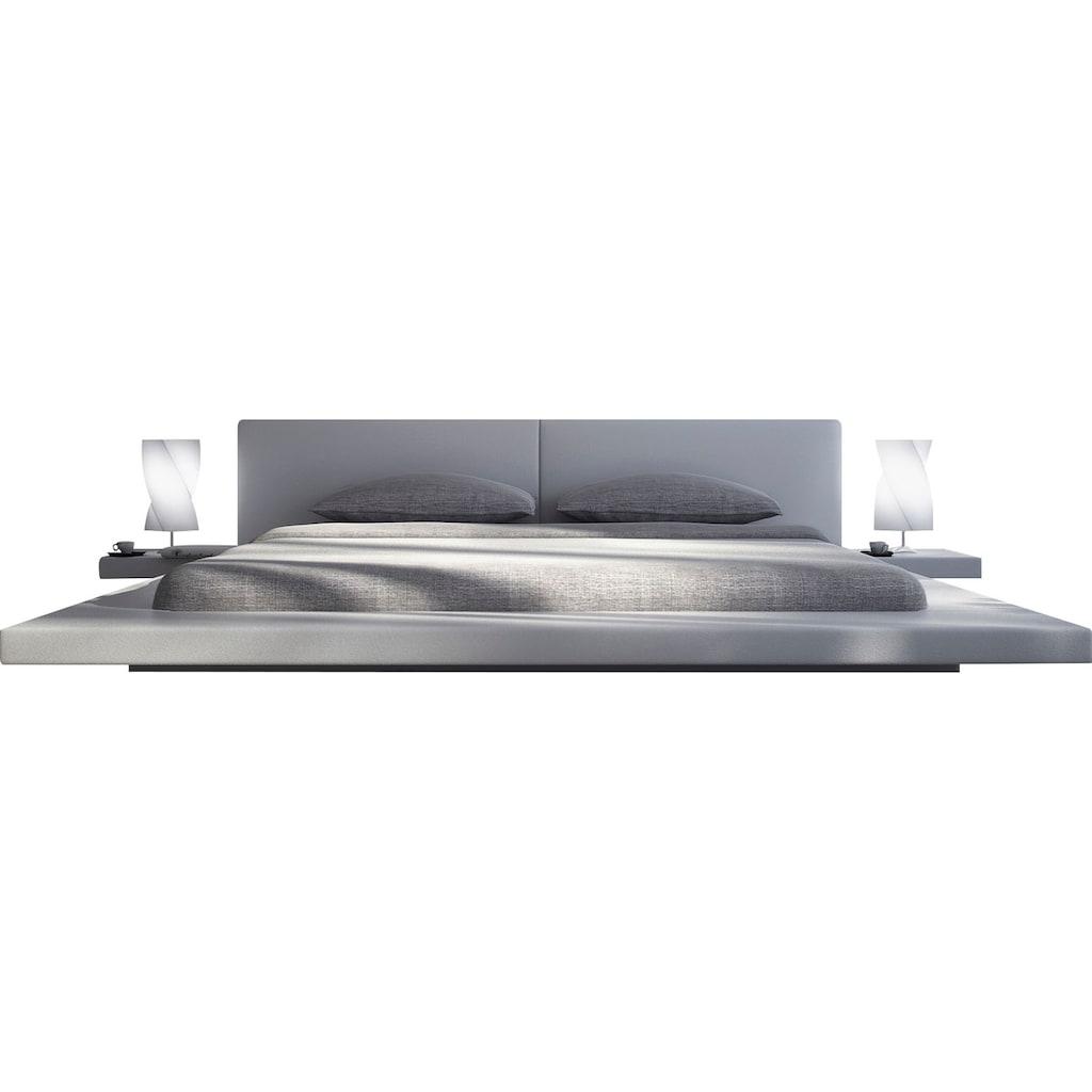 SalesFever Polsterbett, Design Bett in moderner Optik, Lounge Bett inklusive Nachttisch