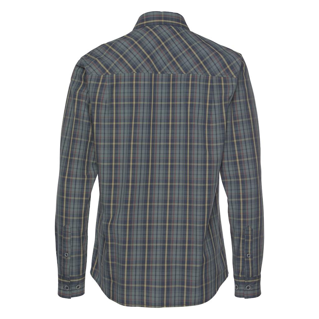 Man's World Langarmhemd, Hochwertige Applikationen auf der Brust