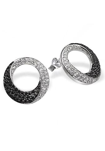 goldmaid Paar Ohrstecker, Silber 925/- schwarz weisse Zirkonia kaufen