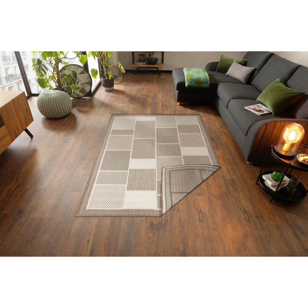 Home affaire Teppich »Tudor«, rechteckig, 5 mm Höhe, Sisal-Optik, beidseitig verwendbar, In- und Outdoor geeignet, Wohnzimmer