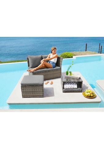 KONIFERA Loungeset »Marseille«, 8 - tlg., Sofa, Tisch 57x57 cm, Hocker, Polyrattan kaufen