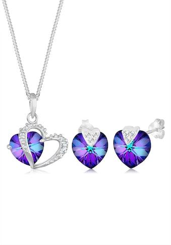 Elli Schmuckset »Herz Kristalle 925 Silber« kaufen