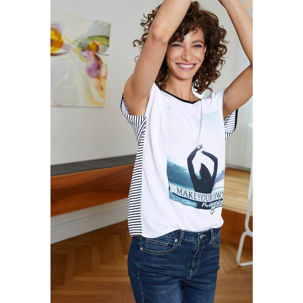 Aniston SELECTED Blusenshirt, mit gestreiftem Rücken