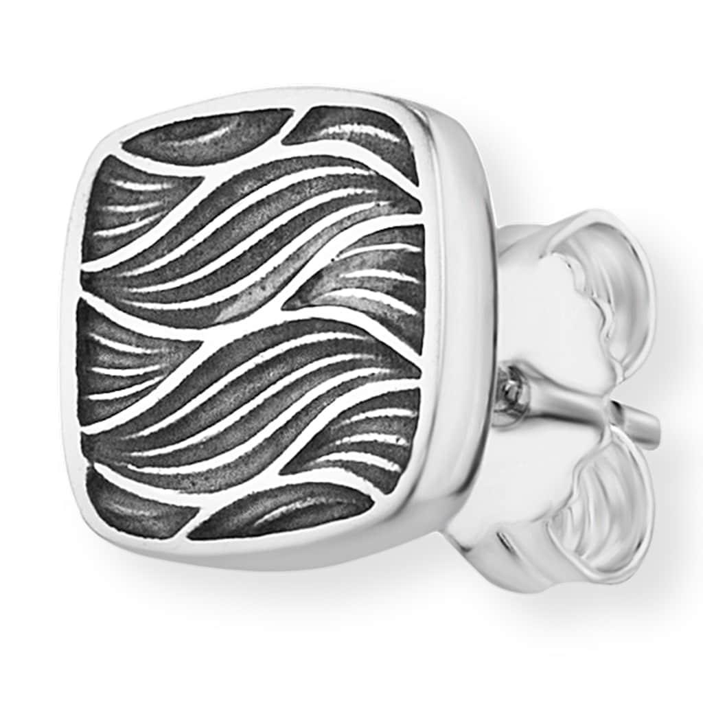 CAÏ Paar Ohrstecker »925/-Sterling Silber rhodiniert Wellen«, im oxidized look