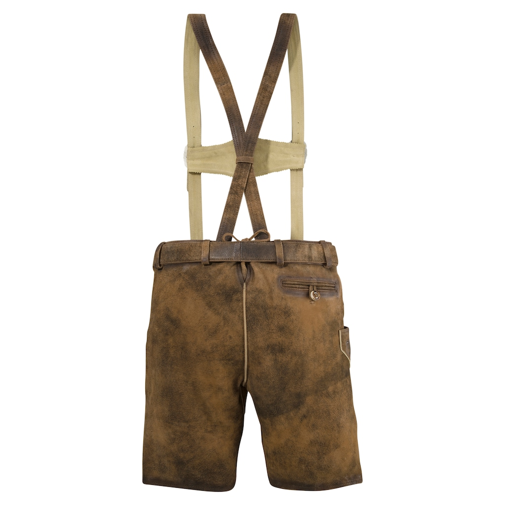 MarJo Trachtenlederhose, mit Gürtel und abnehmbaren Trägersystem