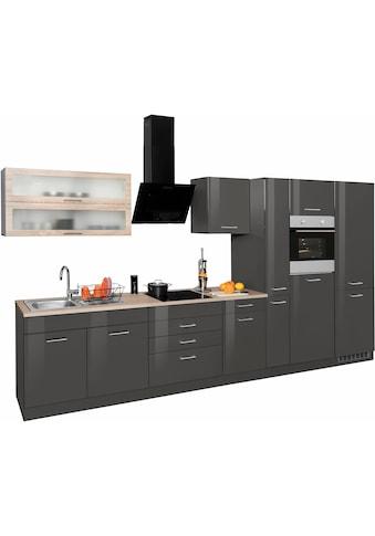 HELD MÖBEL Küchenzeile »Utah«, mit E - Geräten und großer Kühl -  Gefrierkombination, Breite 380 cm kaufen