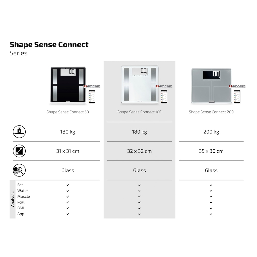 Soehnle Körper-Analyse-Waage »Shape Sense Connect 100«, mit Bluetooth®