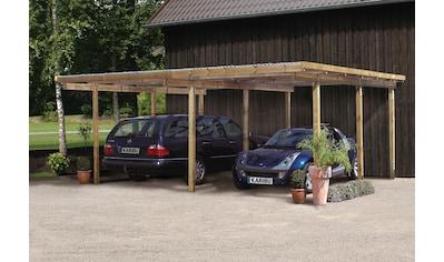 Karibu Doppelcarport »Eco 1«, Holz, 250 cm, braun kaufen
