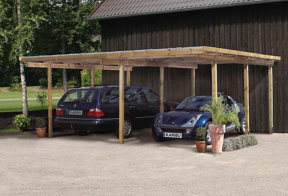 Doppel-Carport aus Holz
