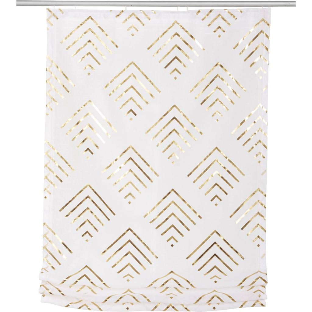 Guido Maria Kretschmer Home&Living Raffrollo »Gino«, mit Klettband, transparent, mit Foliendruck einseitig bedruckt, Rautenmuster