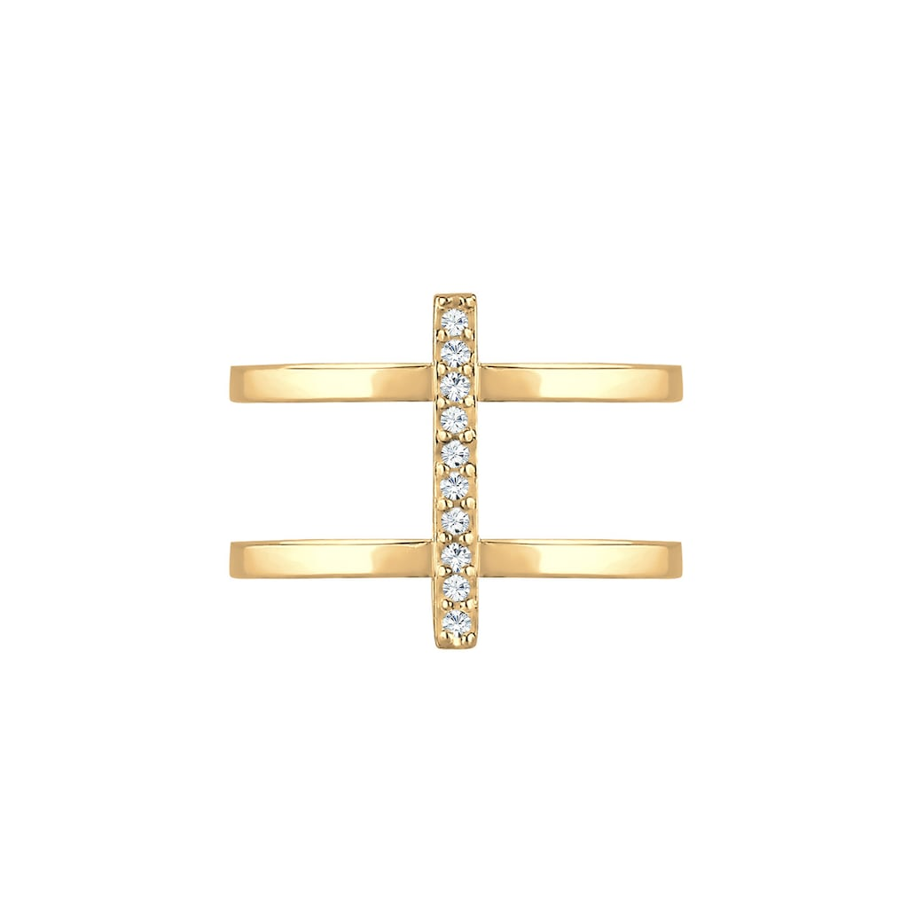 Elli Fingerring »Doppelring Geo Kristalle 925er Silber«