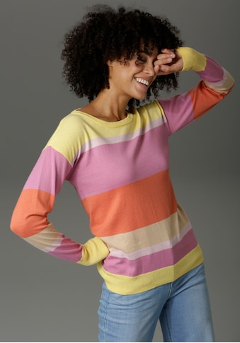 Aniston CASUAL Rundhalspullover, mit Colorblocking - NEUE KOLLEKTION kaufen