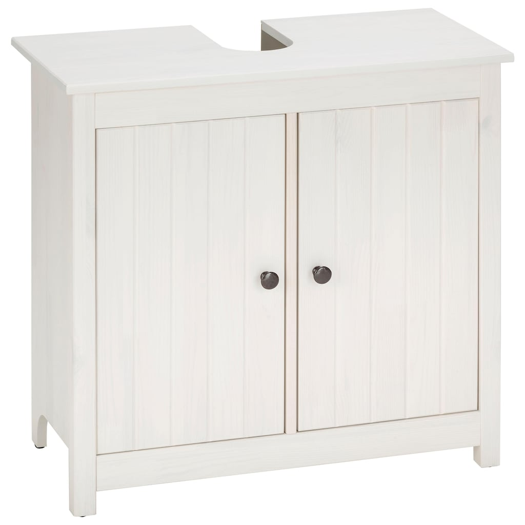 Home affaire Waschbeckenunterschrank »Westa«, Breite 62 cm, Badezimmerschrank aus Massivholz, Kiefernholz, Metallgriffe